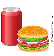 hamburger, boîtes, aluminium, soude