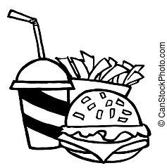 hamburger, boisson, frire, francais