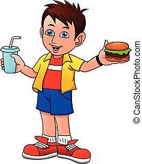 hamburger, boisson, grand garçon, sourire, tenue