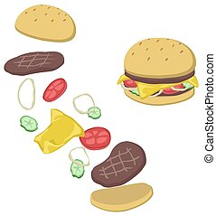 Hamburger elements breakup, vector cartoon color illustration vertical, over white, isolated