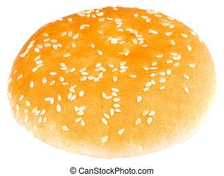 Hamburger bun isolated on white background. Close up