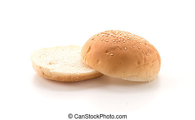 Hamburger bun on white background