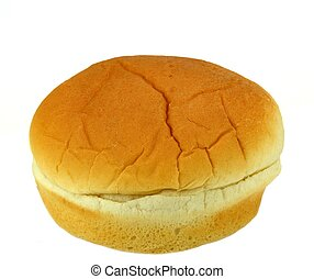 One hamburger bun on a white background.