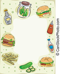 hamburger, cadre, saumure