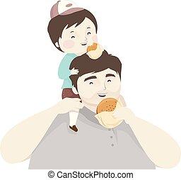 hamburger, capretto, padre, illustrazione, ragazzo