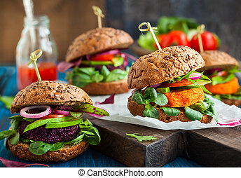hamburger, carota, avocado, veggie, barbabietola