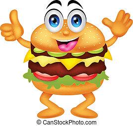 hamburger, cartone animato, caratteri