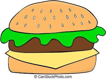 hamburger, cartone animato, disegnato, icon., mano, style.