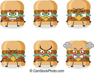 Hamburger cartoon character with various angry expressions