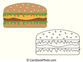 Hamburger cartoon. Coloring page for children. Leisure activity. Vector illustration.