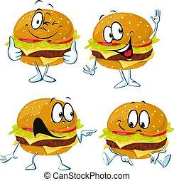 Hamburger cartoon with face and hand gesture - vector illustration