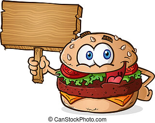 Hamburger Cartoon Wooden Sign