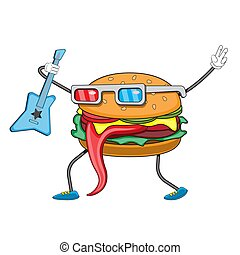 hamburger character with a guitar on a white isolated background. Vector image