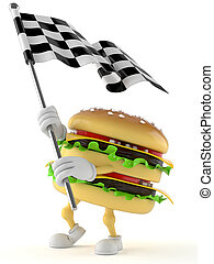 Hamburger character with race flag