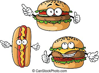 hamburger, cheeseburger, dog, warme, karakters, spotprent