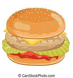 hamburger, chicken, witte , achtergrond.
