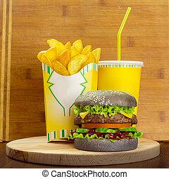 hamburger, cibo, menu, frigge, francese, vetro, digiuno, cola
