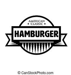 hamburger, classico, francobollo, vendemmia, -, americano