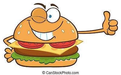 hamburger, cligner, dessin animé, caractère