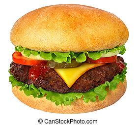 Hamburger close up. It is isolated on a white background.