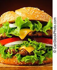 hamburger, closeup, dettaglio