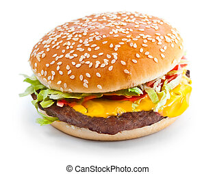 Hamburger closeup photo isolated on white