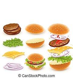 hamburger, com, queijo
