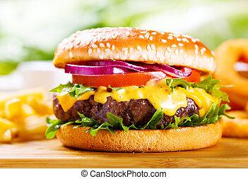 hamburger, con, frigge