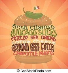 hamburger, concept., vector, mexicaanse , fastfood.