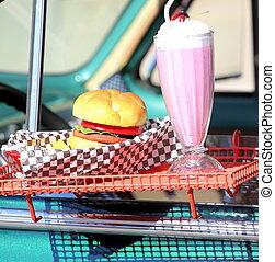 hamburger, conduire, dans.