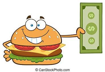 hamburger, conto, dollaro, presa a terra