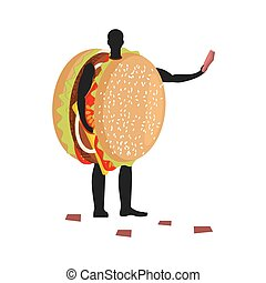 Hamburger costume man mascot promoter. Male in suit burger distributes flyers. Puppets fast food engaged in advertising goods