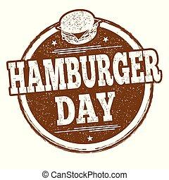 Hamburger day sign or stamp