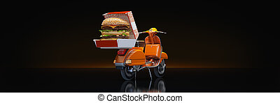 Hamburger Delivery. 3d rendering