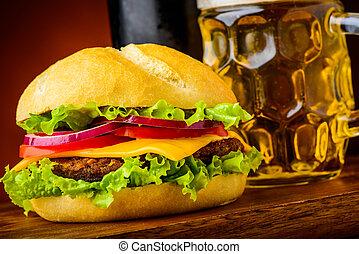 hamburger detail - fast food with hamburger closeup detail...