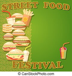 hamburger, dog, aardappel, voedingsmiddelen, poster, drink., vasten, bakken, warme