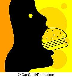 hamburger, donna mangia, cartone animato