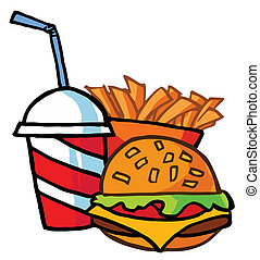 Hamburger Drink And French Fries - Cheeseburger With Drink...