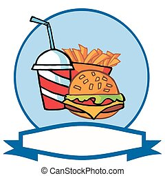 Hamburger Drink And French Fries - Fast Food Logo Of Soda,...