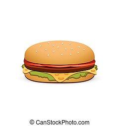 hamburger, elszigetelt, ábra, háttér., vektor, fehér