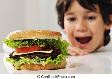 hamburger, enfant, mignon