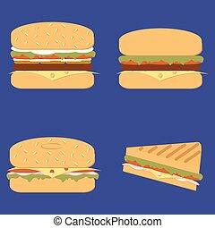 hamburger, ensemble, classique