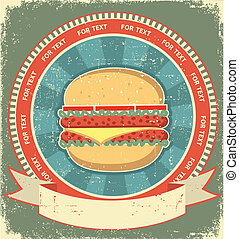 hamburger, etikette, sæt, på, gamle, avis, texture.vintage,...