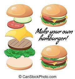 hamburger, faire, ton, coutume