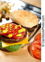 hamburger, fastfood, -
