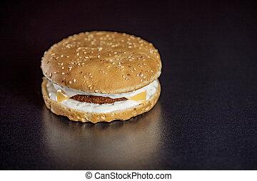 hamburger, fish, noir, isolé