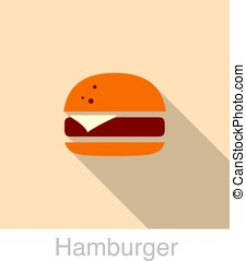 Hamburger food flat icon design, vector illustration