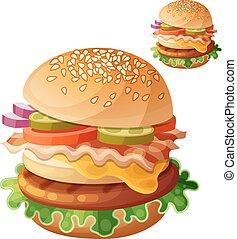 Hamburger. Food vector icon isolated