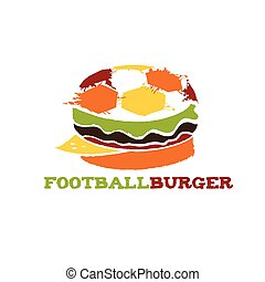hamburger, football, illustrazione