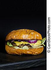 hamburger, formaggio, casalingo, manzo, onion.